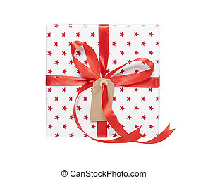 Present isolated with gift tag