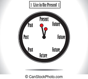 Present Moment concept illustration using a round wall clock and the words Present, the Past and the Future