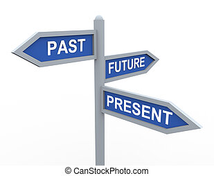 Present, past and future - 3d road sign of text present,...