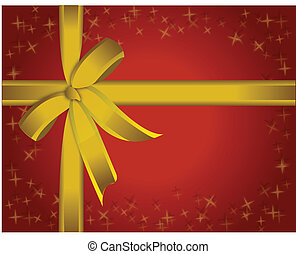 Beautiful red paper and golden ribbon present