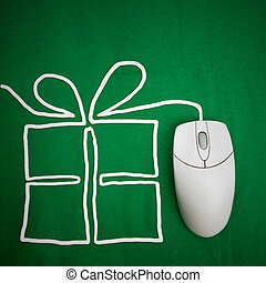 Online present shopping concept, mouse on green background with present