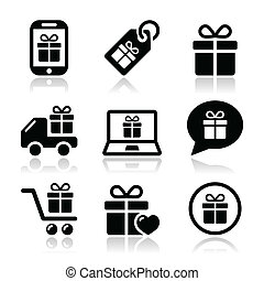 Present, shopping vector icons set - Present, buying online...