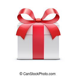 Present  - illustration of white present box with red bow