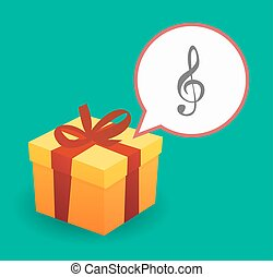 Present with a g clef - Illustration of a present with a...