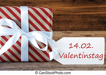 Present With Label, Valentinstag Means Valentines Day -...