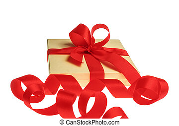 present with red ribbon isolated on white backround