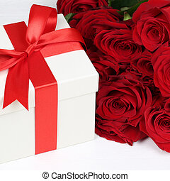 Present with roses for birthday gifts, Valentine's or mother's d