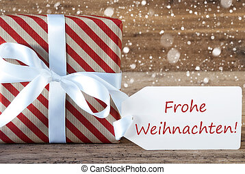 Present With Snowflakes, Text Frohe Weihnachten Means Merry Christmas