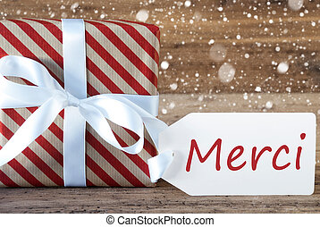 Present With Snowflakes, Text Merci Means Thank You