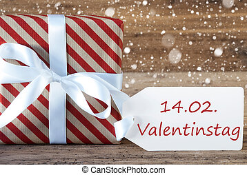 Present With Snowflakes, Text Valentinstag Means Valentines...