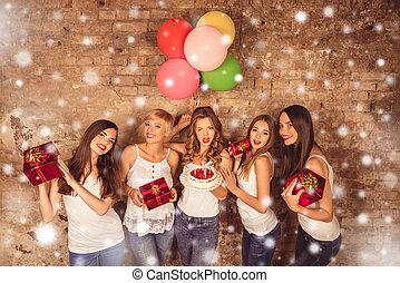 presenta, carino, sorridere felice, palloni, torta, ragazze...