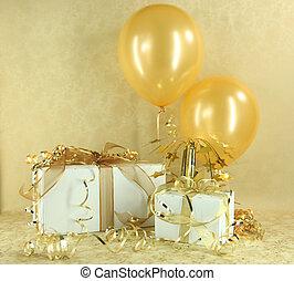 presenta, compleanno, anniversario, oro, natale