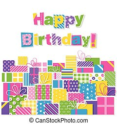 presenta, compleanno, cartolina auguri