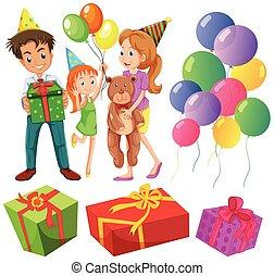 presenta, compleanno, set, famiglia