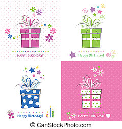 presenta, compleanno, set, scheda, felice