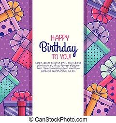 presenta, regali, decorazione, scheda compleanno, felice