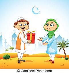presentación, celebrar, eid, regalo, gente