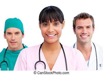 presentación, de, un, alegre, equipo médico