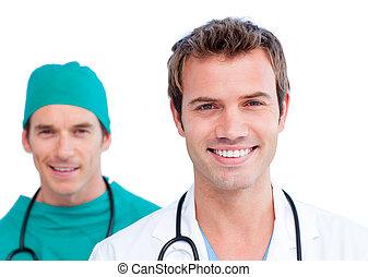presentación, de, un, encantado, equipo médico