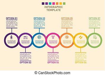 presentación, de, un, progreso, timeline, gráfico