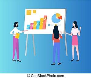 presentación, gráficos, empresa / negocio, gráficos