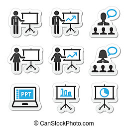 presentación negocio, conferencia, icono