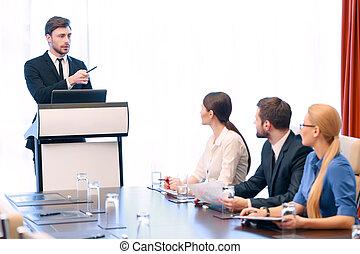 presentación, reunión, empresa / negocio