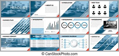 presentaciones, templates., infographics, elemento del ...