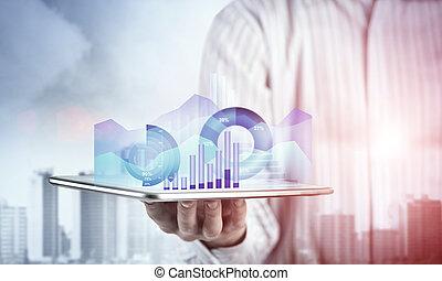 presentare, media, rapporto vendite