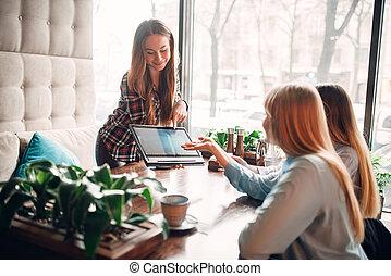 presentatie, koffiehuis, goederen, vergadering, draagbare computer