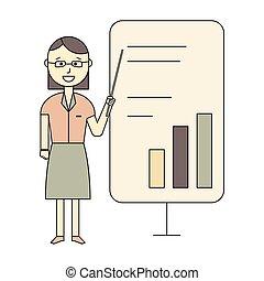presentatie, spreker, vrouwlijk, bedrijfsseminarie