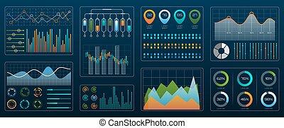 presentation., écran, interface, diagrammes, technologie, gestion, diagrammes, futuriste, coloré, données