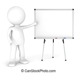 3D little human character with a blank whiteboard and 2 pens. Symmetric front view. People Series.