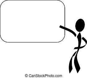 Presentation - A stylized person pointing on a blank...