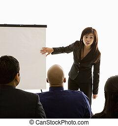 presentation., affär