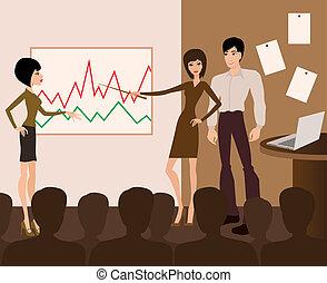presentation, affär, meeting.