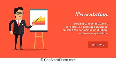 Presentation Banner. Business Man in Suit and Tie -...