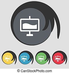 Presentation billboard icon sign. Symbol on five colored buttons. Vector