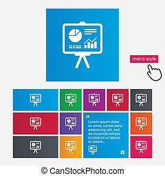 Presentation billboard sign icon. Diagram symbol -...