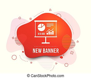 Presentation billboard sign icon. Diagram symbol. Vector