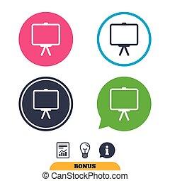 Presentation billboard sign icon. PPT symbol. - Presentation...