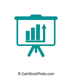 Presentation board concept illustration icon. Chart figures analysis concept illustration icon. Education concept illustration icon. Business concept illustration icon.
