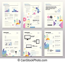 Presentation booklet - set of modern vector abstract...