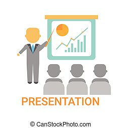 Presentation Business Man Showing Flip Chart With Finance Graph, Training Conference Meeting