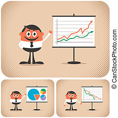 Cartoon character making a presentation. The illustration is in 3 versions. You can replace the chart with your own message. No transparency and gradients used.