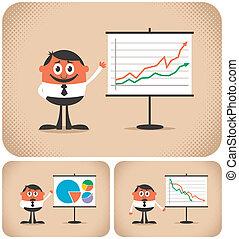 Presentation - Cartoon character making a presentation. The...