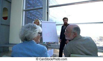 Presentation for senior couple - Business people making...