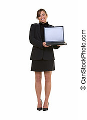 Presentation - Full body of an attractive brunette smiling...