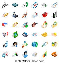 Presentation icons set, isometric style
