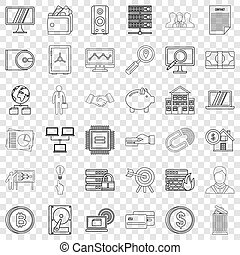 Presentation icons set, outline style
